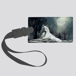 White Wolf and Pup Large Luggage Tag