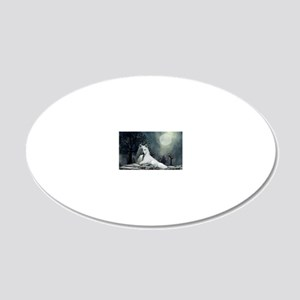 White Wolf and Pup 20x12 Oval Wall Decal