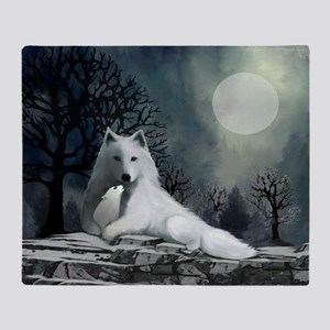 White Wolf and Pup Throw Blanket