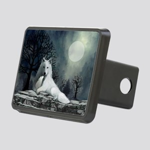 White Wolf and Pup Rectangular Hitch Cover