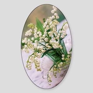 Lily of the valley (Convallaria maj Sticker (Oval)
