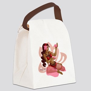 Lotus Belly Dancer Pink Canvas Lunch Bag