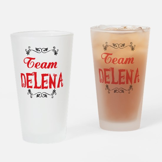 Vampire Diaries Team Delena Drinking Glass