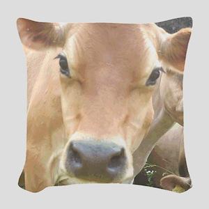 Jersey Cow Face Woven Throw Pillow