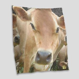 Jersey Cow Face Burlap Throw Pillow