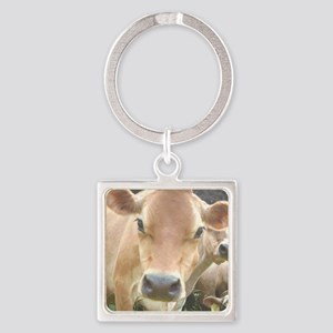 Jersey Cow Face Square Keychain