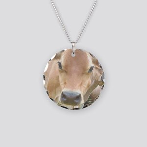 Jersey Cow Face Necklace Circle Charm
