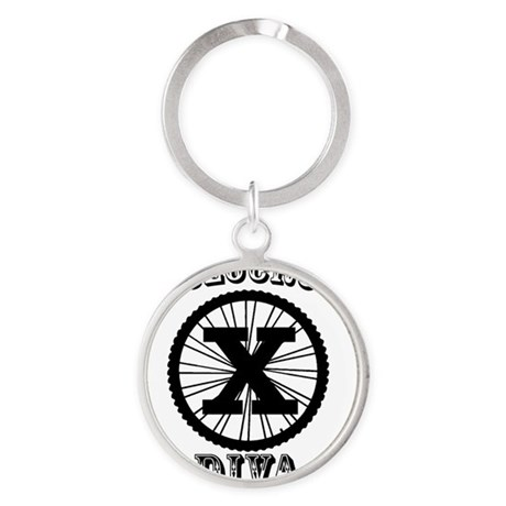 Cyclocross Diva Round Keychain
