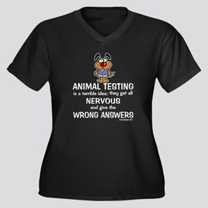 Animal Testing... Women's Plus Size V-Neck Dark T-