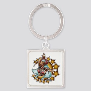 Belly Dancer, Tribal Rose, Dark co Square Keychain