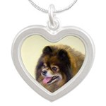 Pomeranian (Black and Tan) Silver Heart Necklace