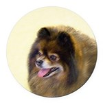 Pomeranian (Black and Tan) Round Car Magnet