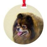 Pomeranian (Black and Tan) Round Ornament