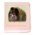 Pomeranian (Black and Tan) baby blanket