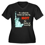 Liberty, Not Security Wmns Plus Sz V-Neck Dark Tee
