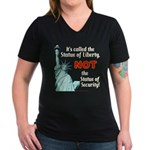 Liberty, Not Security Wmns V-Neck Dk Tee