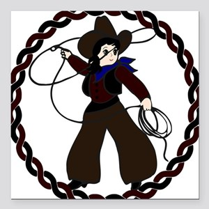 """Cowgirl Square Car Magnet 3"""" x 3"""""""