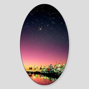 Starry sky over Vancouver Sticker (Oval)