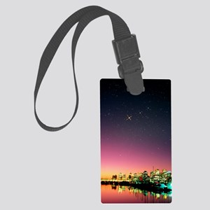 Starry sky over Vancouver Large Luggage Tag