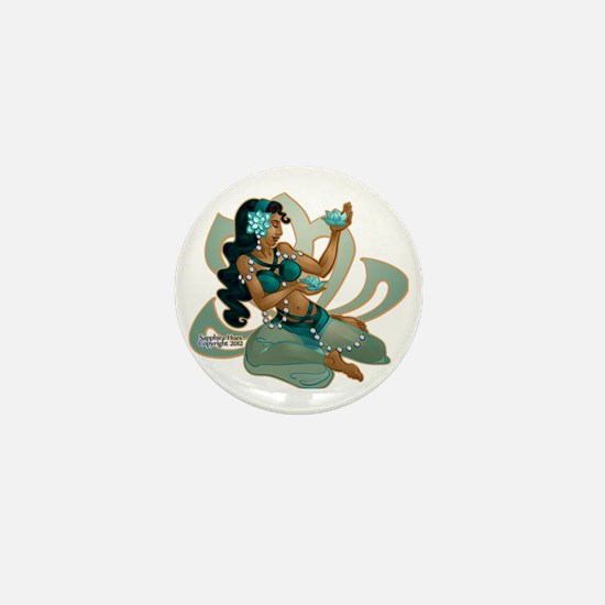 Lotus Belly Dancer Turquoise Mini Button