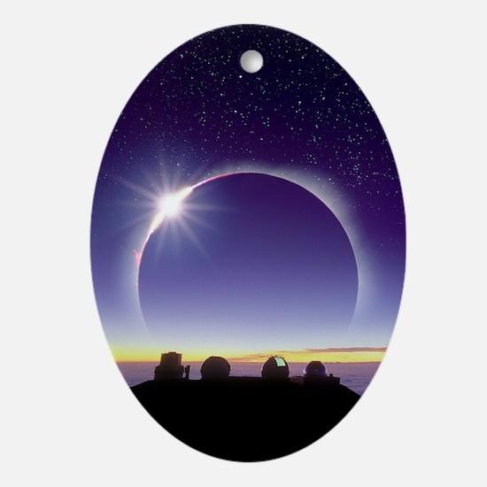 Solar eclipse Oval Ornament