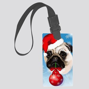 A Very Merry Christmas Pug Poste Large Luggage Tag