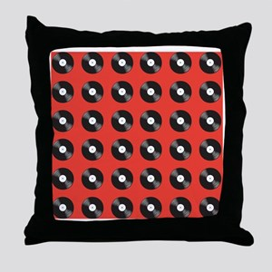 vinyl red Throw Pillow