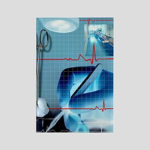 Surgery, conceptual artwork Rectangle Magnet