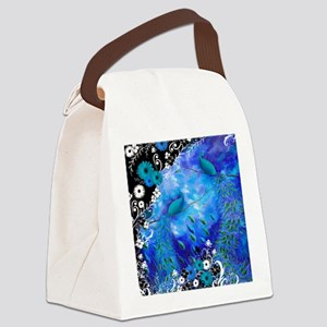 Two Peacocks In Blue Canvas Lunch Bag