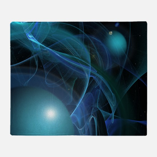 Fractal Flame: Blue Planets Throw Blanket