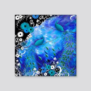"""Two Peacocks In Blue Square Sticker 3"""" x 3"""""""