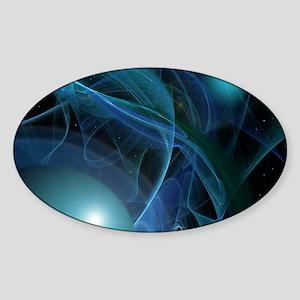 Fractal Flame: Blue Planets Sticker (Oval)