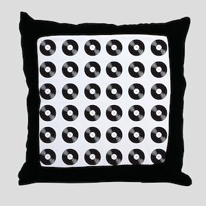 vinyl black Throw Pillow