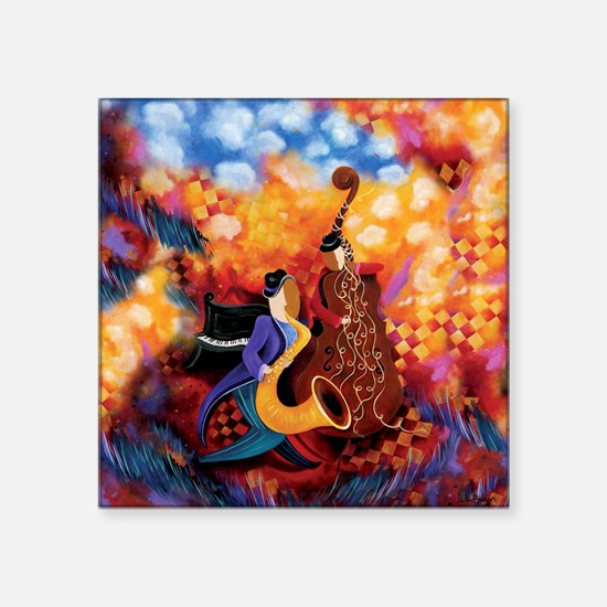 "Music Makers Jazz Music Square Sticker 3"" x 3"""