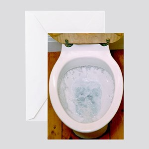 Toilet being flushed Greeting Card