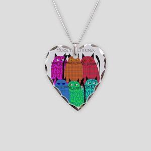 Nurse Practitioner Cats Verti Necklace Heart Charm