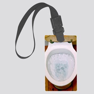 Toilet being flushed Large Luggage Tag