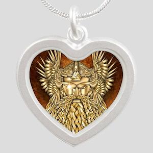 Odin - God of War Silver Heart Necklace