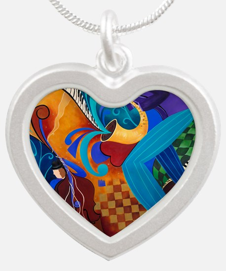 The Music Players Silver Heart Necklace