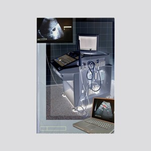 Ultrasound scanner and scans, art Rectangle Magnet