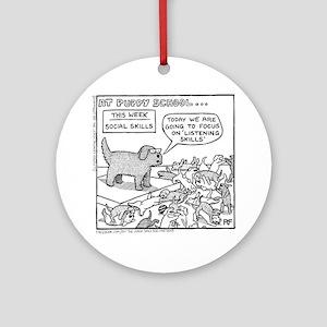 Puppy School - Listening Skills Round Ornament