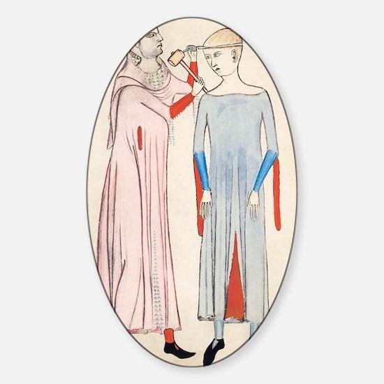 Trepanation, 14th century artwork Sticker (Oval)