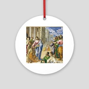 Christ Healing Round Ornament