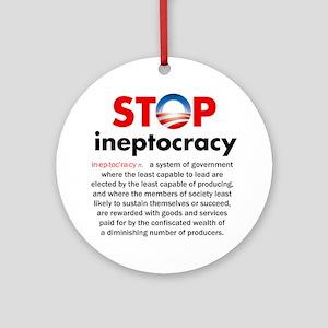 Stop Obama's Ineptocracy Round Ornament
