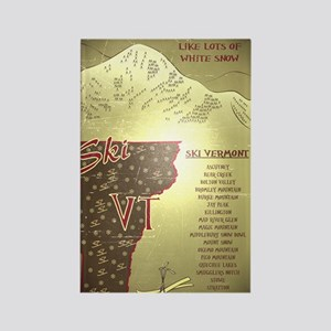 Vintage Ski VT Poster Rectangle Magnet