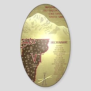 Vintage Ski VT Poster Sticker (Oval)