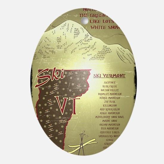 Vintage Ski VT Poster Oval Ornament
