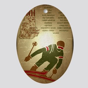 Vintage Ski NH Poster Oval Ornament