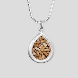 Wine bottle corks Silver Teardrop Necklace