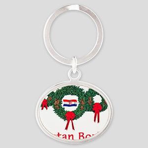Croatia Christmas 2 Oval Keychain